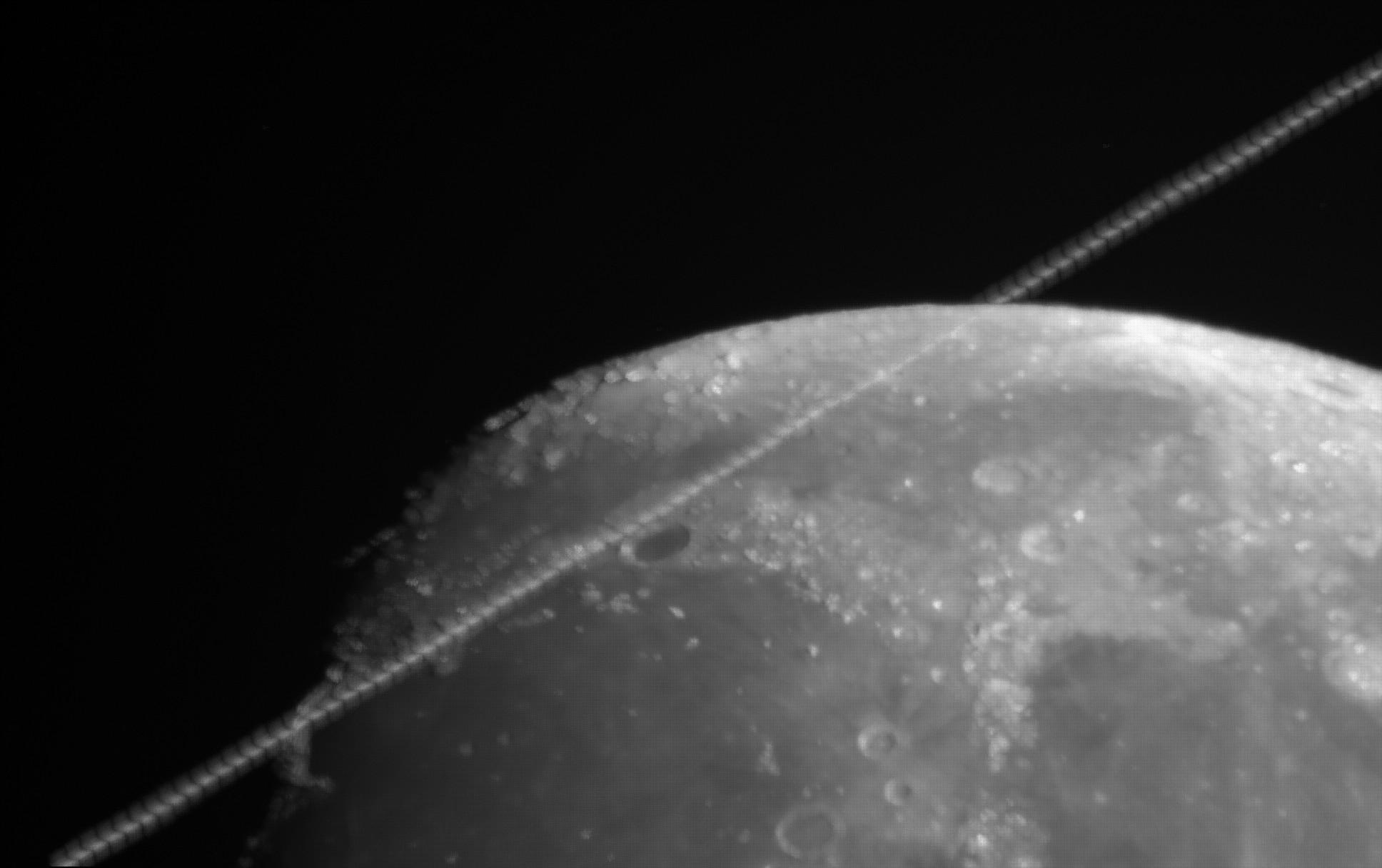 """ISS Mondtransit am 13.08.2016 Kompositbild des gesamten Transits mit ca. 100 """"ISS Bildchen"""""""